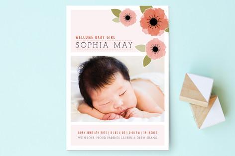 New Born Poppy Birth Announcement Postcards