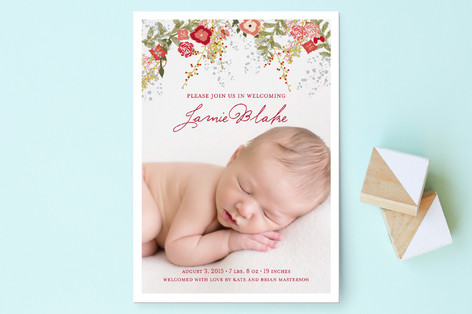 Fleurs De Noel Birth Announcement Postcards