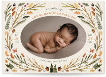This is a brown birth announcement postcard by Kate Ahn called woodland watercolor with standard printing on signature in postcard.