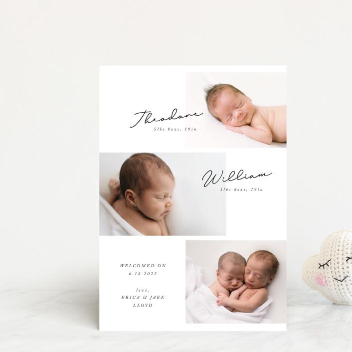 """""""Twin Columns"""" - Modern Birth Announcement Postcards in Onyx by Anna Elder."""