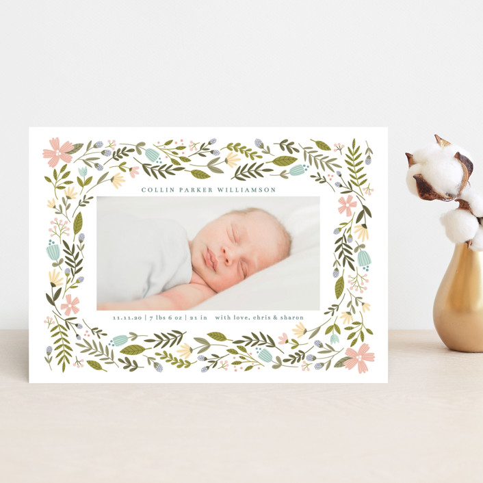 """""""Little Floral Frame"""" - Birth Announcement Postcards in Buttercup by Kristen Magee."""