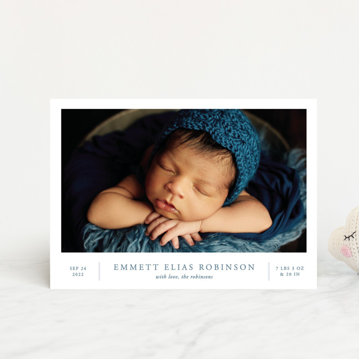 """""""With Love"""" - Birth Announcement Postcards in Lake by Vanessa Doyle."""