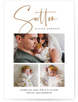 This is a brown birth announcement postcard by Jessica Williams called Sutton with standard printing on signature in postcard.