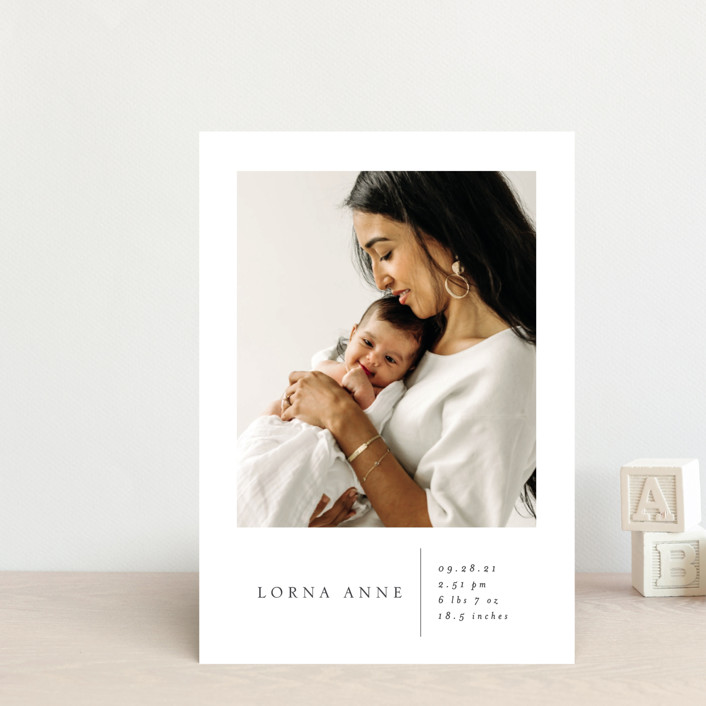 """""""Simple Stats"""" - Birth Announcement Postcards in Cloud by Erin Deegan."""