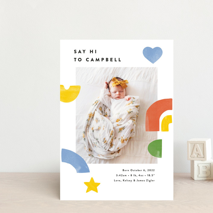 """Bright Shapes Collage"" - Whimsical & Funny Birth Announcement Postcards in Sunshine by Ariel Rutland."