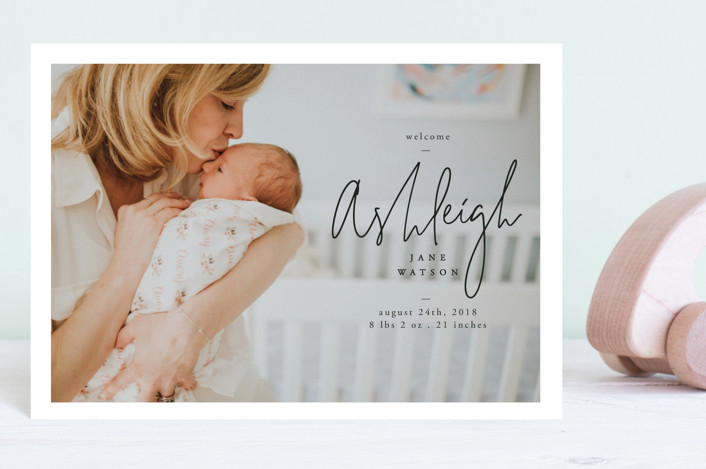 """""""our delight"""" - Modern Birth Announcement Postcards in Ink by Lindsay Stetson Thompson."""