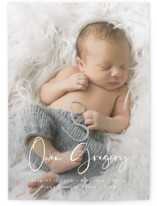 This is a white birth announcement postcard by Maria Hilas Louie called Simply Welcomed with standard printing on signature in postcard.