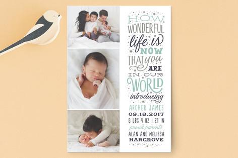Wonderful Life Birth Announcement Postcards