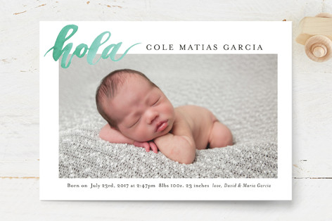 hola bebe Birth Announcement Postcards