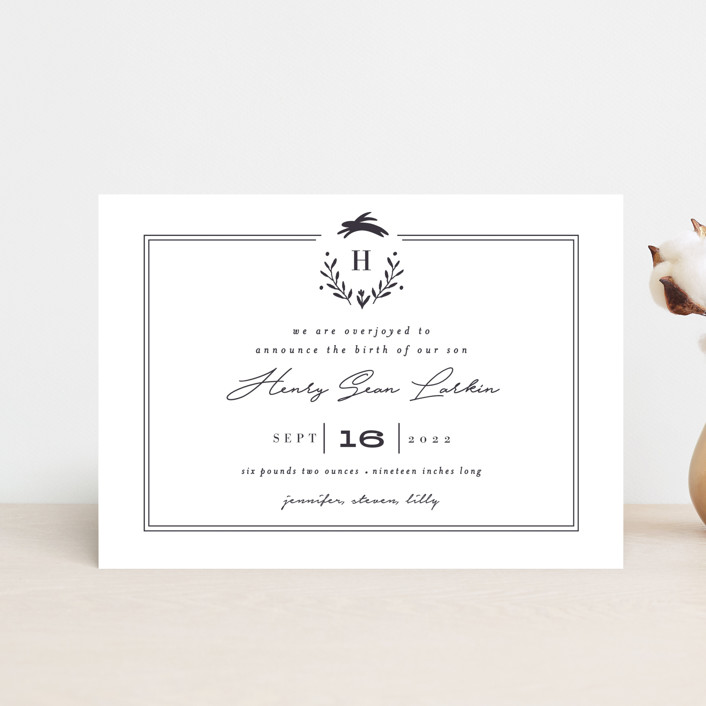 """""""Classic Baby Monogram"""" - Preppy Birth Announcement Postcards in Cobalt Blue by Susan Brown."""