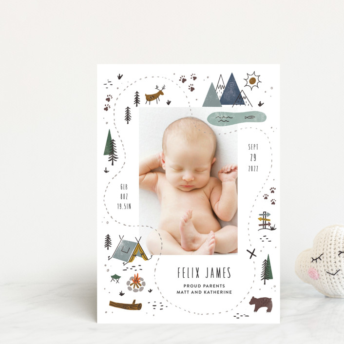 """""""Our Adventure"""" - Whimsical & Funny Birth Announcement Postcards in Blue Spruce by Jamie Bartlett."""