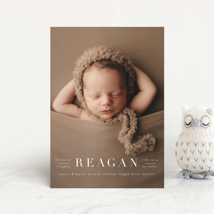 """""""Bold Classic"""" - Birth Announcement Postcards in Cotton by Shirley Lin Schneider."""