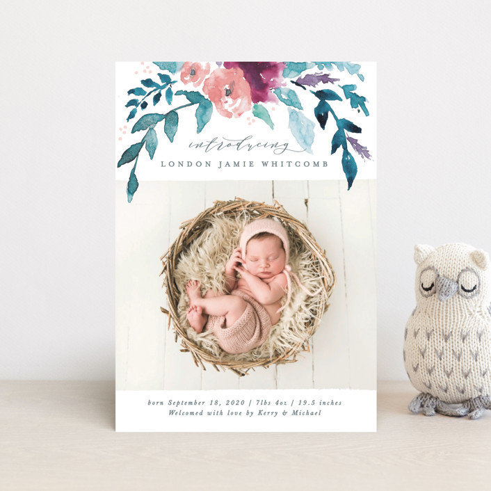 """""""Watercolor Branches"""" - Birth Announcement Postcards in Spring by Karidy Walker."""