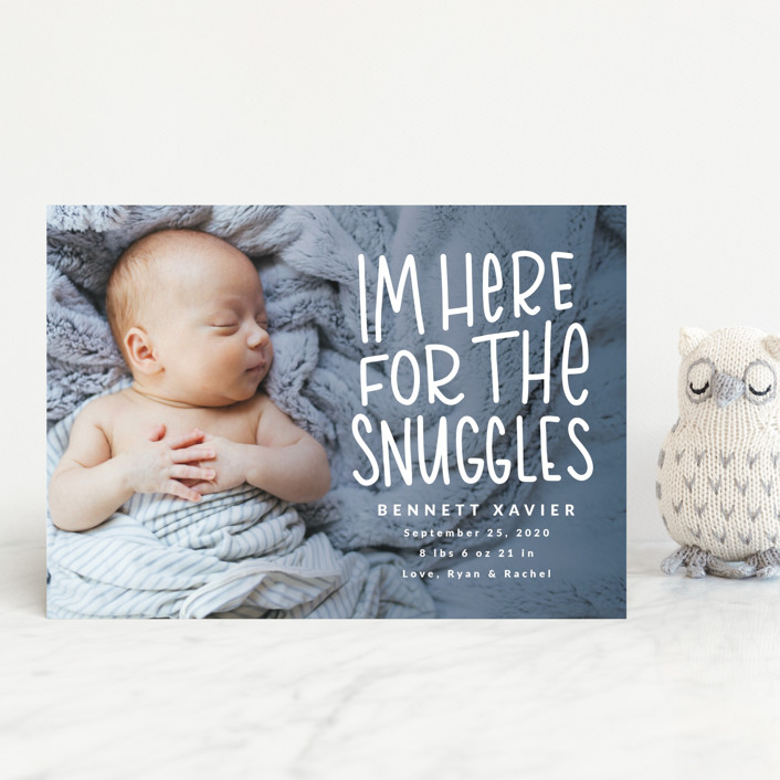 """Snuggles"" - Funny Birth Announcement Postcards in Dusty Blue by Mayflower Press."