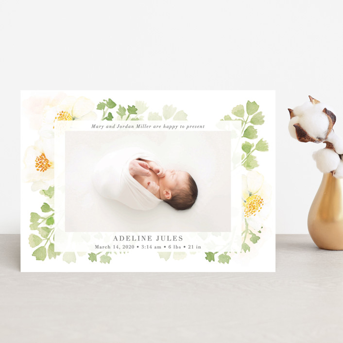 """""""Spring Love"""" - Birth Announcement Postcards in Lime by frau brandt."""