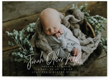 This is a white birth announcement postcard by Owl and Toad called Bundle with standard printing on signature in postcard.