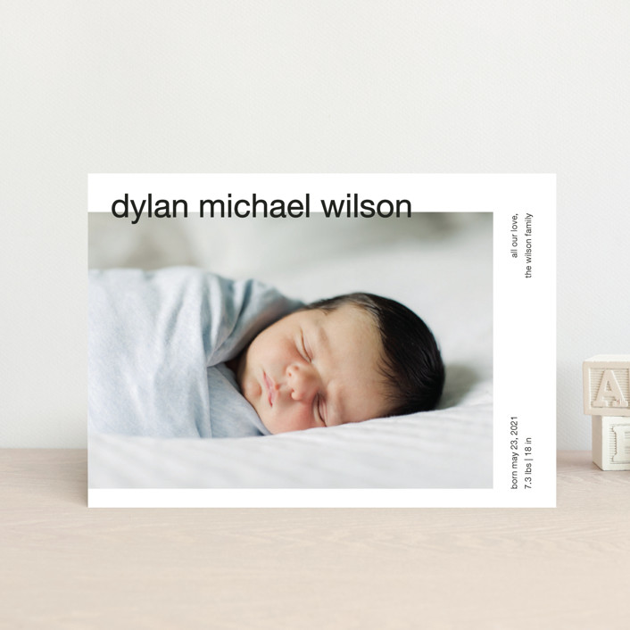 """modern header"" - Birth Announcement Postcards in Noir by JoAnn Jinks."