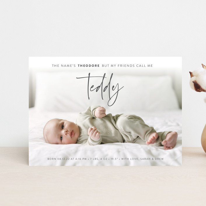 """My Nickname"" - Funny Birth Announcement Postcards in Shadow by Carolyn Kach."