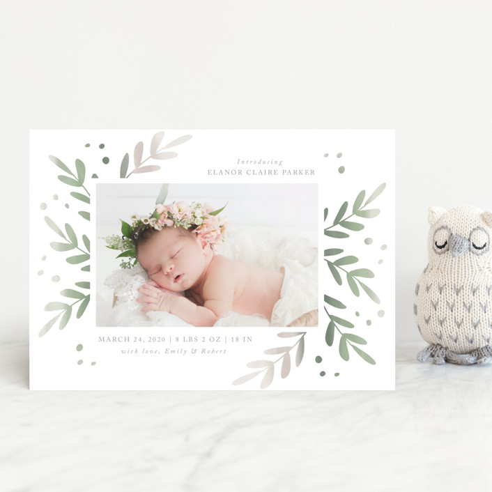 """Foliage Frame"" - Birth Announcement Postcards in Sage by Roopali."