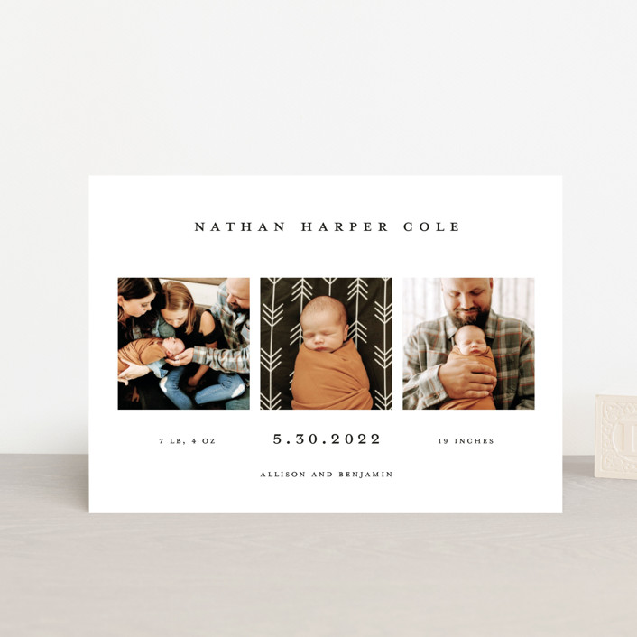 """Simple Birth Announcement"" - Birth Announcement Postcards in Midnight by Kelly Stewart."