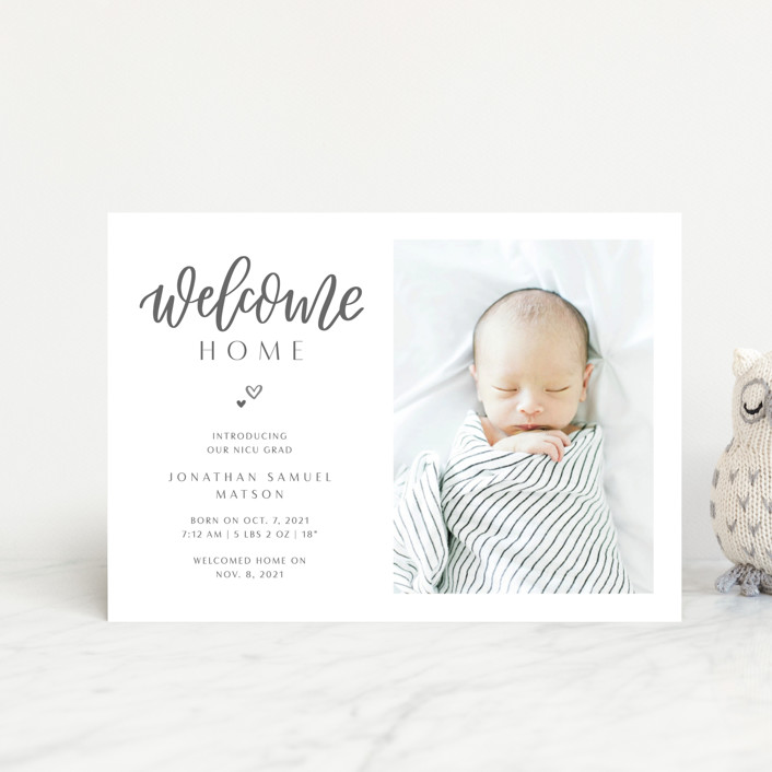 """""""Welcome Home Baby"""" - Birth Announcement Postcards in Shadow by Carolyn Kach."""