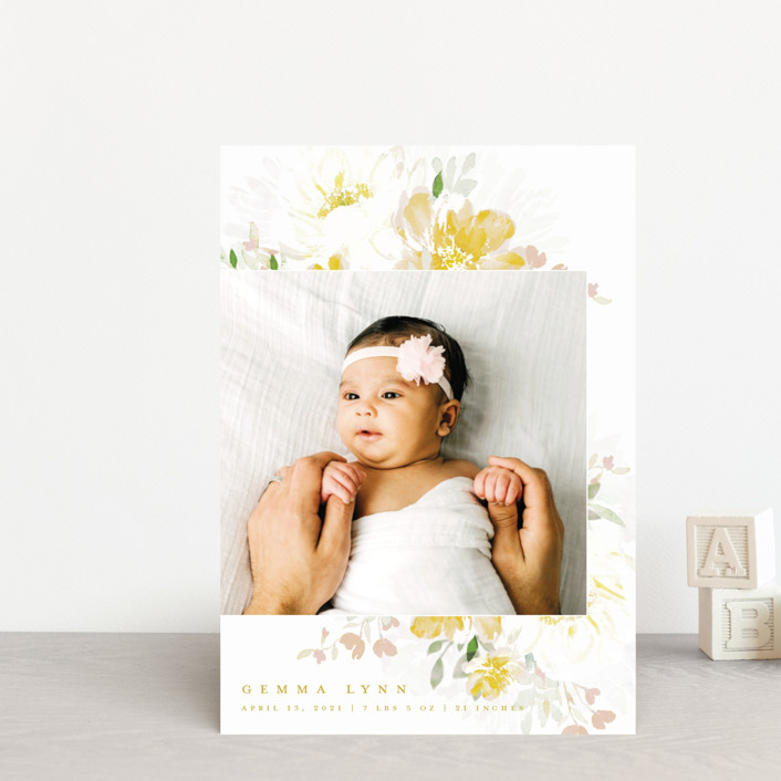 """""""Draping Blooms"""" - Birth Announcement Postcards in Canary Yellow by Grace Kreinbrink."""