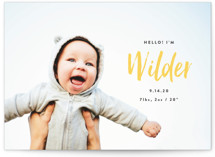 This is a yellow birth announcement postcard by Olivia Raufman called Simple Hello with standard printing on signature in postcard.