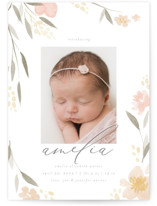 This is a pink birth announcement postcard by Robert and Stella called Fresh Florals with standard printing on signature in postcard.