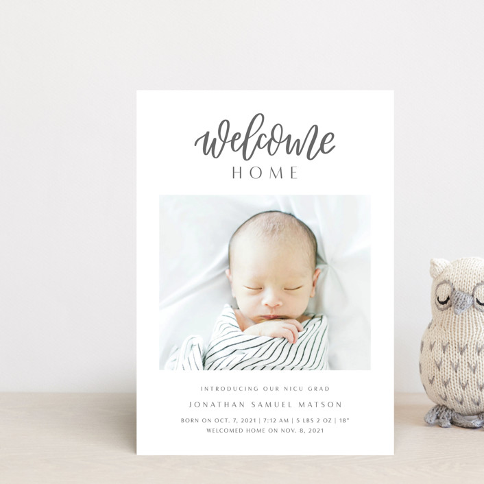 """""""Welcome Home Baby"""" - Modern Birth Announcement Postcards in Shadow by Carolyn Kach."""