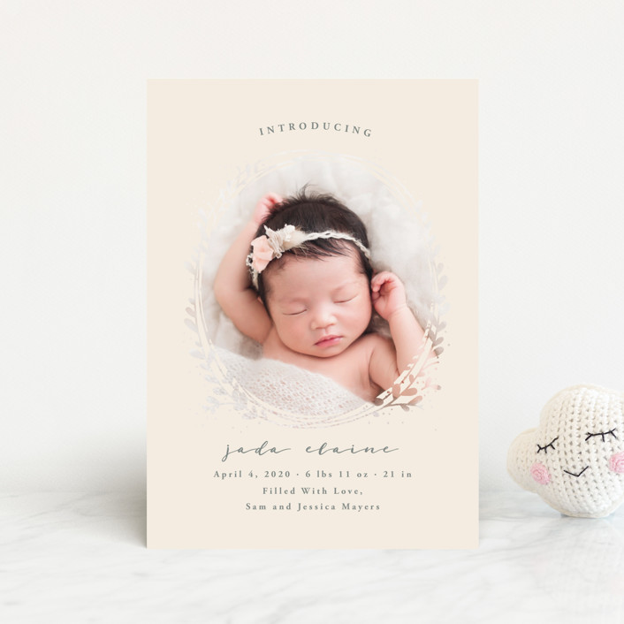 """""""Nest"""" - Birth Announcement Postcards in Ivory by JeAnna Casper."""