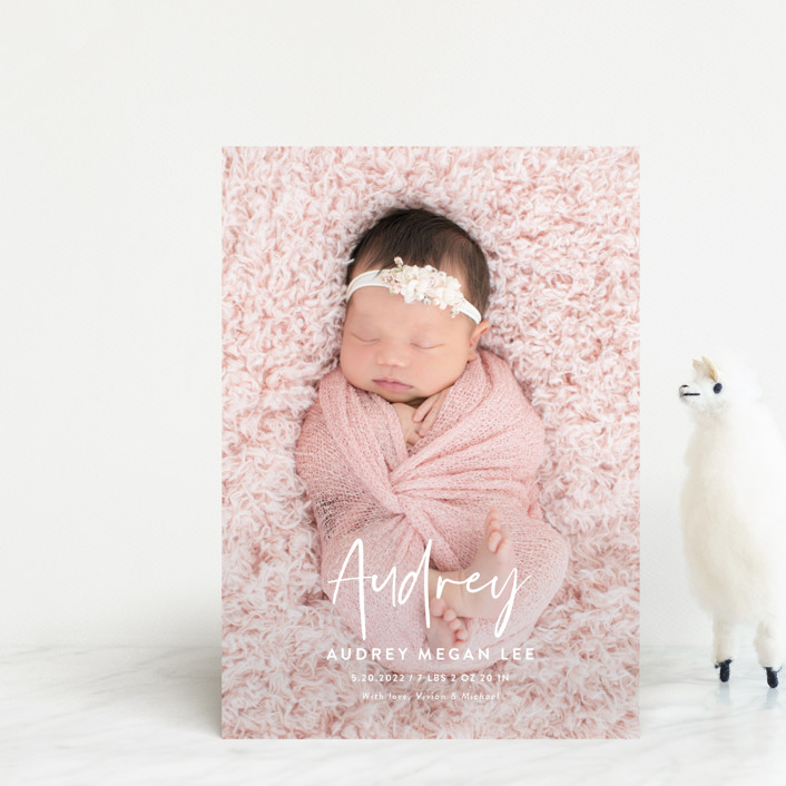 """Say My Name"" - Modern Birth Announcement Postcards in Snow by Yaling Hou Suzuki."