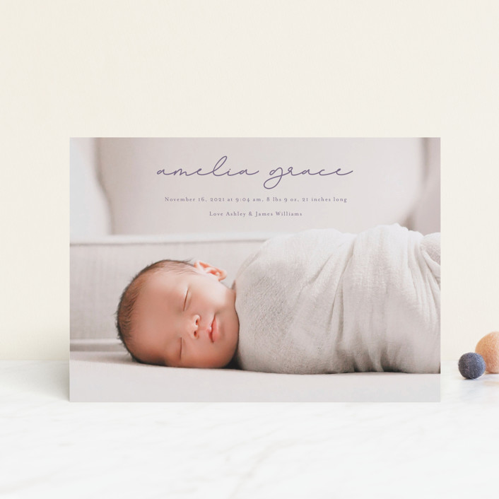 """pure grace"" - Birth Announcement Postcards in Onyx by Kasia Labocki."