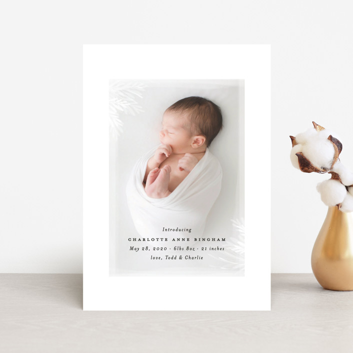 """""""whispering botanicals"""" - Birth Announcement Postcards in Cotton by Faith Dorn."""
