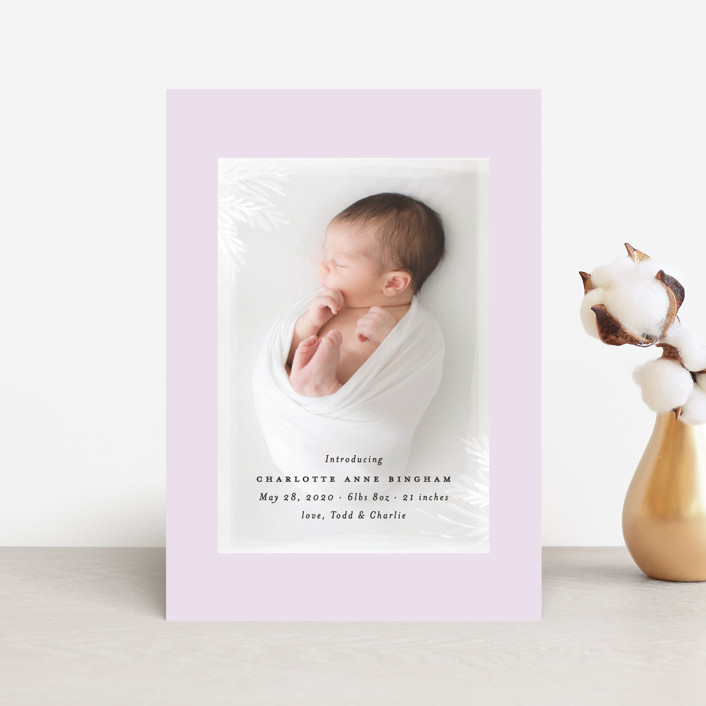 """whispering botanicals"" - Birth Announcement Postcards in Cotton by Faith Dorn."