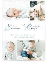 This is a blue birth announcement postcard by Stacey Meacham called Modern scribe with standard printing on signature in postcard.