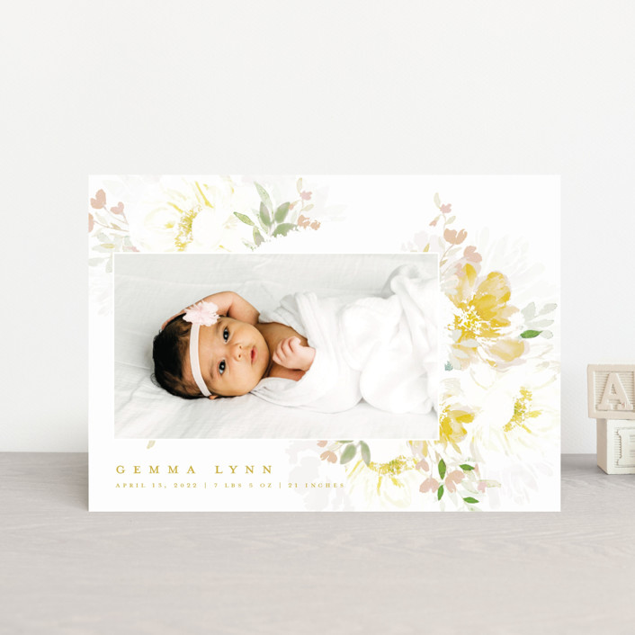 """Draping Blooms"" - Birth Announcement Postcards in Canary Yellow by Grace Kreinbrink."