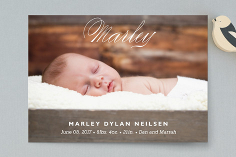 Precious Name Birth Announcement Postcards