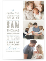 This is a blue birth announcement postcard by Lauren Chism called Little Man with standard printing on signature in postcard.