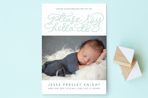 Say Hello Birth Announcement Postcards