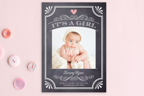 It's A Girl Vintage Chalkboard Birth Announcement Postcards