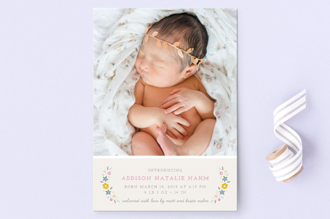 Serafina Floral Birth Announcement Postcards