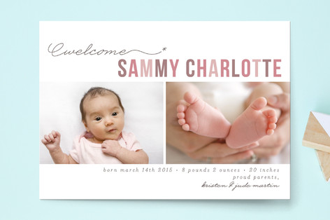 Floating Asterisk Birth Announcement Postcards