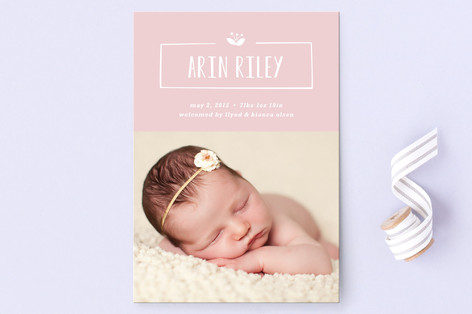 Nameplate Birth Announcement Postcards