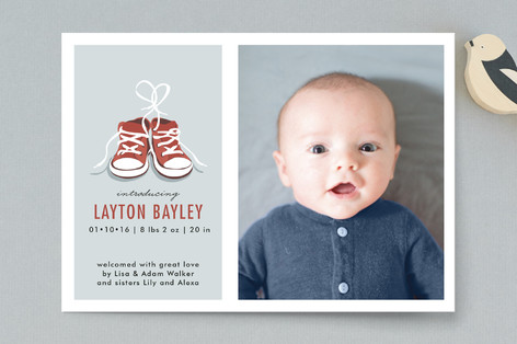 Tiny Sneakers Birth Announcement Postcards