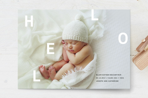 Scattered Hello Birth Announcement Postcards
