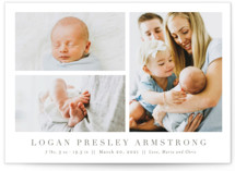 This is a brown birth announcement postcard by Toast & Laurel called Menil with standard printing on signature in postcard.