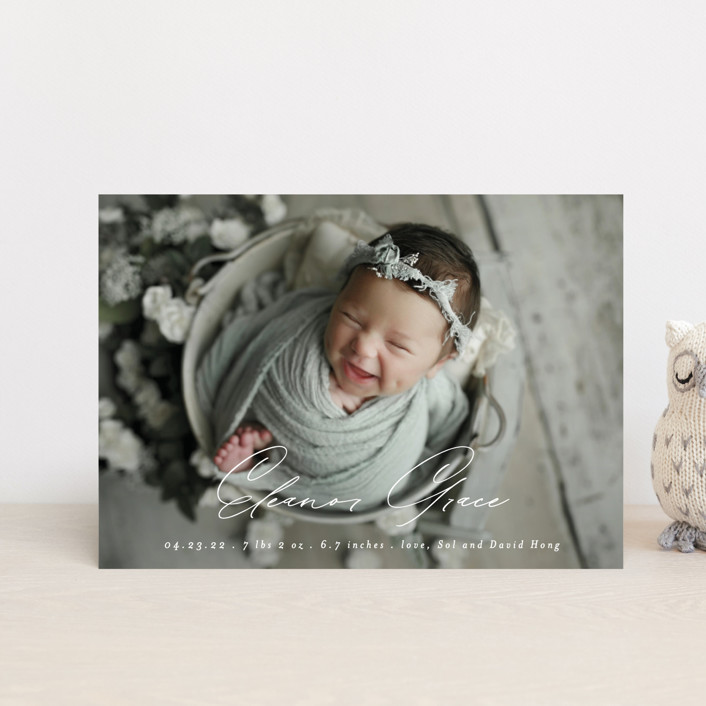 """Our Little Bundle"" - Modern Birth Announcement Postcards in Snow by Mansi Verma."
