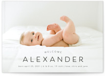 This is a black birth announcement postcard by MC designs called Welcome our Baby with standard printing on signature in postcard.