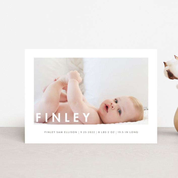 """""""Simply Baby"""" - Modern Birth Announcement Postcards in Marshmallow by Susan Brown."""