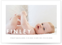 This is a white birth announcement postcard by Susan Brown called Simply Baby with standard printing on signature in postcard.